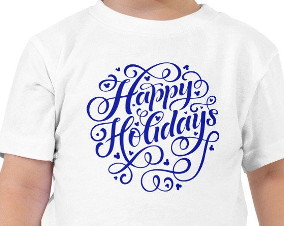 Blue Happy Holidays Hidden Mouse Toddler/Youth Crew Neck - FREE SHIPPING