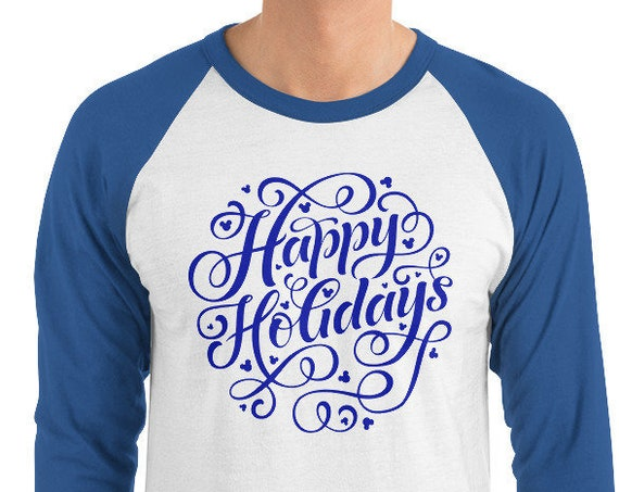 Hidden Mouse Happy Holidays Baseball Raglan Unisex Shirt - FREE SHIPPING