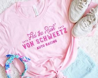 Feel the Rush - Car - Racing Inspired - Pink Unisex Crew Neck Shirt