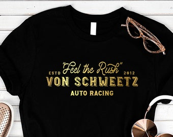 Feel the Rush - Von Schweetz Car Racing - Black Unisex Crew Neck in Gold Foil