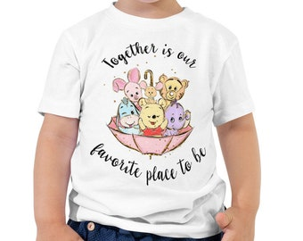 Together is Our Favorite Place - Pooh Inspired White Kids Crew Neck