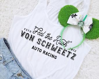 Feel the Rush -  Von Schweetz Inspired Car Racing Shirt in WHITE