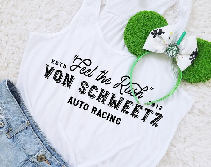 Feel the Rush -  Von Schweetz Inspired Car Racing Shirt in WHITE