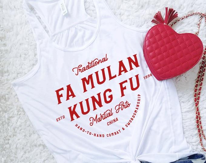 Fa Mulan Kung Fu - Disney Princess Inspired Martial Arts - Red Flowy Tank Top - FREE SHIPPING