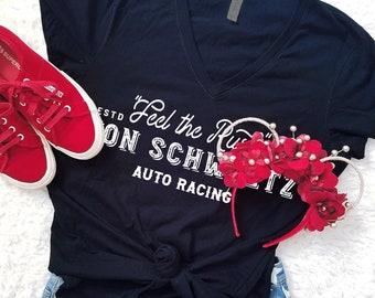 Feel the Rush - Von Schweetz Car Racing - Women's Black V-Neck