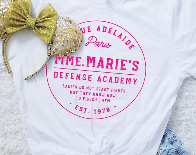 Mmm. Marie's Defense Academy - White Unisex Crew Neck