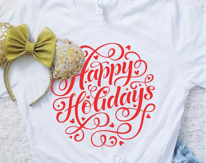 Happy Holidays Hidden Mouse Crew Neck Shirt