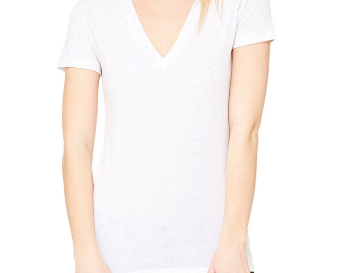 SALE - Choose Your Own Design - White Triblend Ladies V-Neck - SMALL