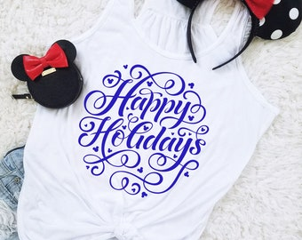 Happy Holidays Mouse Snowflake Flowy Racerback Tank for Christmas or Hanukkah