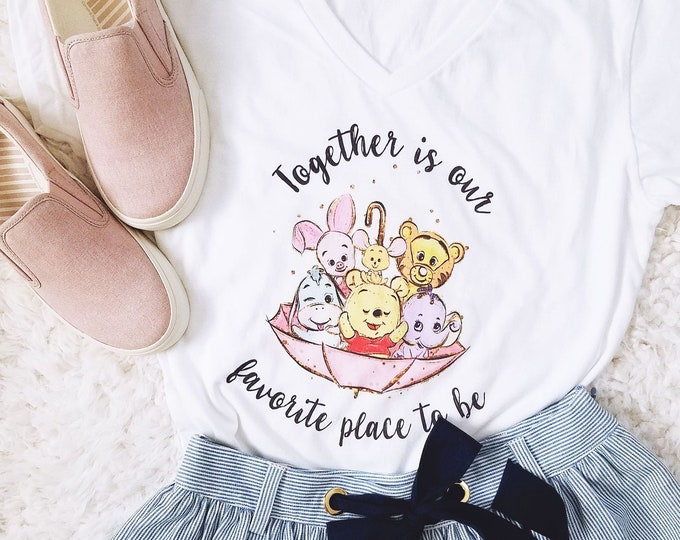 Together is Our Favorite Place - Pooh Inspired - Women's White V-Neck - FREE SHIPPING
