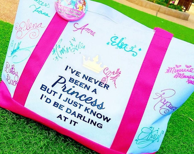 Pink I've Never Been a Princess Disney Inspired Signature Boat Tote