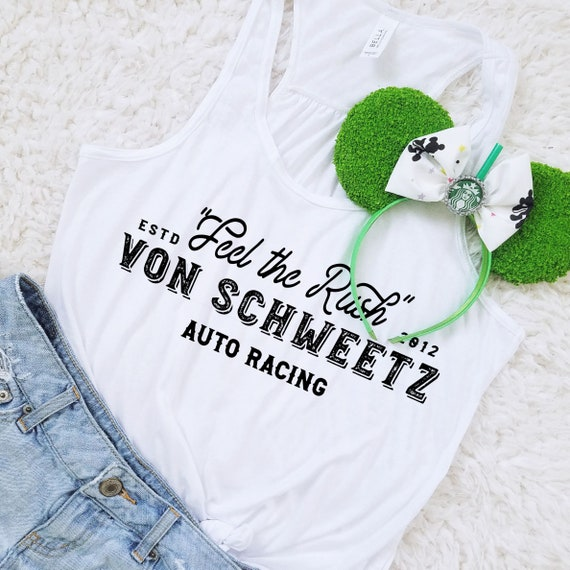 Feel the Rush -  Von Schweetz Inspired Car Racing Shirt - White Ladies Flowy Racerback Tank Top - FREE SHIPPING