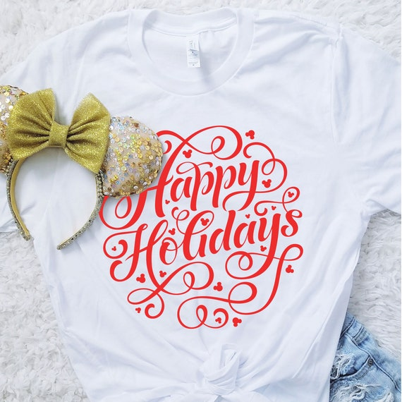 Happy Holidays Hidden Mouse Unisex Crew Neck Shirt - FREE SHIPPING