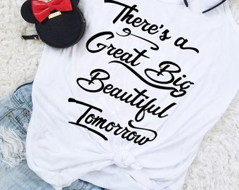 There's a Great Big Beautiful Tomorrow - Pooh Inspirational Quote - Ladies Flowy Racerback Tank Top - FREE SHIPPING