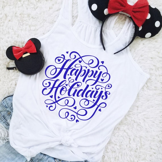 Happy Holidays Mouse Snowflake Flowy Racerback Tank for Christmas or Hanukkah - FREE SHIPPING