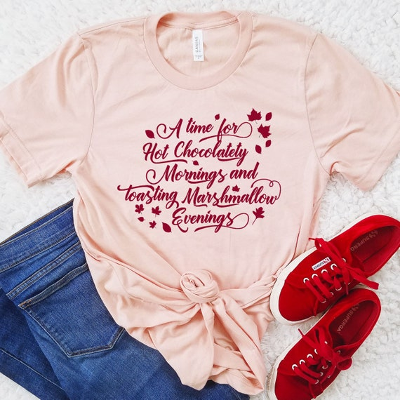 Hot Chocolatety Mornings and Toasting Marshmallow Evenings - Winnie the Pooh Inspired Fall Shirt - FREE SHIPPING