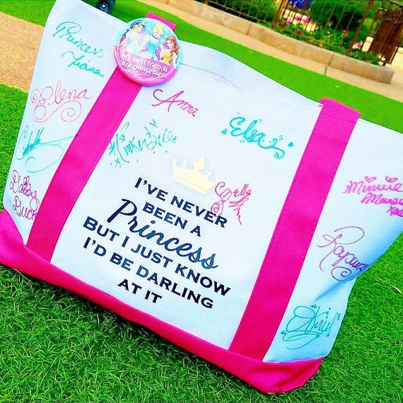 Read to Ship - Pink I've Never Been a Princess Disney Inspired Signature Boat Tote - FREE SHIPPING