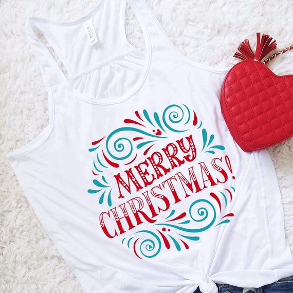 Merry Christmas Mickey Holiday Flowy Tank Top Shirt - FREE SHIPPING