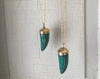 Gold Horn necklace, tibetan horn necklaces, turquoise horn necklace, bohemian jewelry