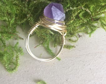 Amethyst ring, Amethyst crystal ring, Amethyst chunk ring, wire wrap ring, crystal ring