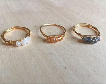 Stackable gemstone rings, gemstone rings, gold gemstone rings, rose gold gemstone ring, wire wrap rings