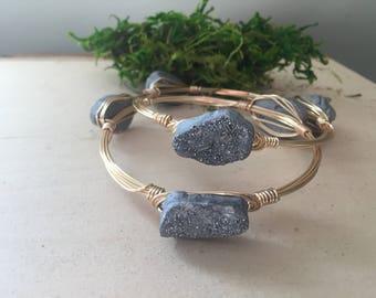 Druzy wrapped bracelet, wite wrapped bracelet, druzy bracelet, gemstone wrapped bracelet