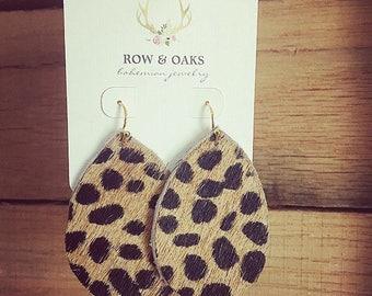 Leather teardrop earrings, teardrop earrings, leather jewelry, leather earrings, cheetah leather earrings