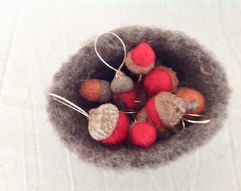 Acorn Pendant Needle Felted Wool - Red and Orange