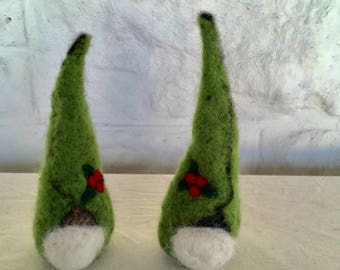 Green Holly Gnome, Needle Felted Wool and Alpaca