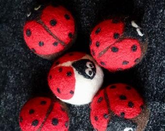 Ladybugs Felted Wool Dryer Ball