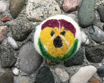 Pansy Burgundy and Yellow, Felted Wool Dryer Ball or Toy