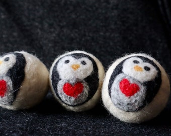 Penguin with a Heart Felted Wool Dryer Ball or Toy