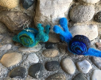 Blue, Green Turquoise Snail, Needle Felted Wool