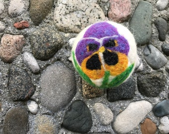 Pansy Purple and Gold, Felted Wool Dryer Ball or Toy