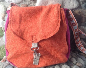 Tangerine Orange and Fuchsia Hot Pink Recycled Felted Wool Sweater Hobo bag Handcrafted in USA