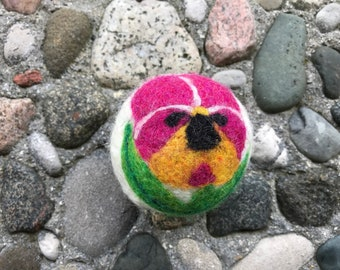 Pansy Fuschia and Gold, Felted Wool Dryer Ball or Toy
