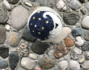 White Moon on White Felted Wool Dryer Ball or Toy