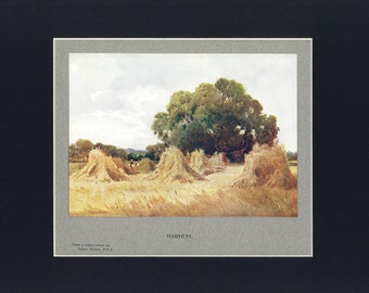 Hay Harvest Antique Illustrated Print from British The Book of the Open Air c1900, edited by Philip Edward Thomas