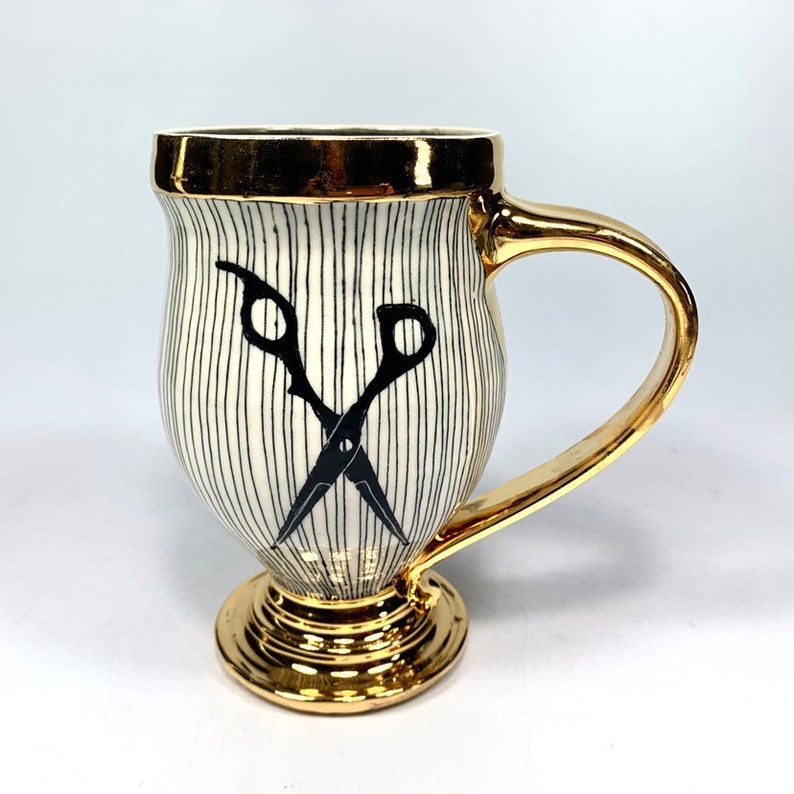15oz Gold and Orange Yarn Skull Mug