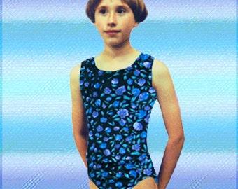 Gymnastics Leotard Girls - floral design sleeveless - New Childs leo - Child Sizes 3-8 available