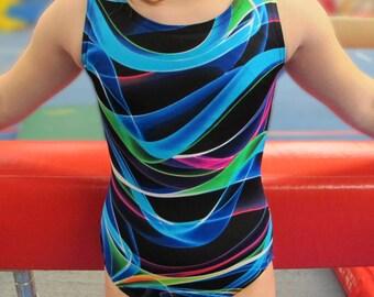 Girls Gymnastics Leotard - rainbow black swirly design - Child sleeveless Leo - 11 sizes available