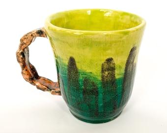 Handmade ceramic great and blue coffee mug, tea cup