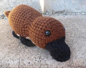 "Brown Platypus Pattern- 12"" amigurumi crochet"
