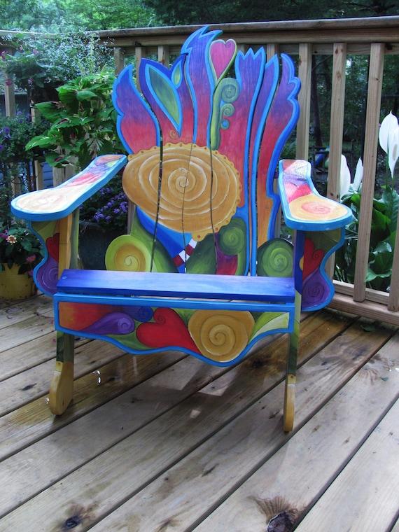 PAINTED CHAIR Custom Adirondack Chair Unique Handmade