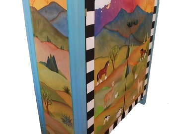 """SHOE CABINET - Storage cabinet - wood cabinet - 31"""" w x 40"""" h x 13"""" d - custom cabinet - personalized cabinet - handpainted furniture"""