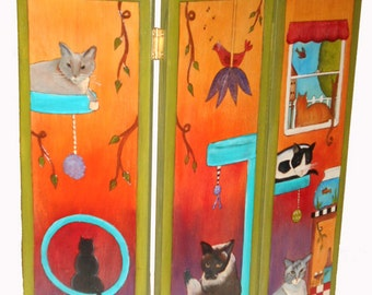 DOG GATE - Pet gate - pet screen - privacy screen - cat litter screen - funky pet gate - whimsical privacy screen - personalized pet screen