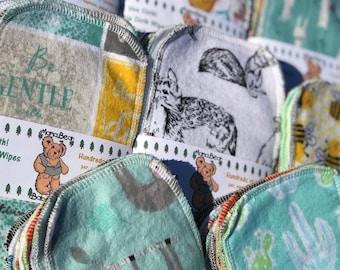 MamaBear Reusable Cloth Wipes COTTON VELOUR (Unpaper) Set - Baker's Dozen