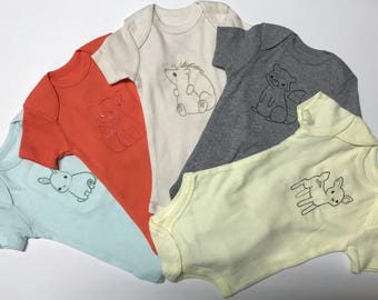 Little Woodland Friends Beautiful Set of 5 Embroidered Onesies 0-3 Months