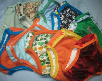 Set of 5 MamaBear Training Pants, one size fits most - Waterproof Prints and Solids Mix