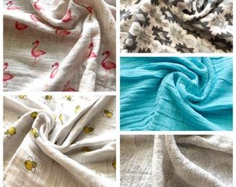 "Soft Double Layer Cotton Gauze  Receiving Blanket, Swaddling Blanket 24"" x 24"""